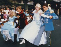Princess Aurora, Prince Phillip, Cinderella and Prince Charming in Snow White's Anniversary Parade, July The first time I ever went to Disneyland was for this event. I was 4 years old. Disneyland Princess, Vintage Disneyland, Disney Love, Disney Magic, Disney Theme, Disney Stuff, Disneylândia Vintage, Cinderella And Prince Charming, Cinderella Prince