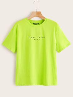 d8e326c98e SHEIN Neon Lime Slogan Print Tee #fashion #trends #styles #shein #sheinside