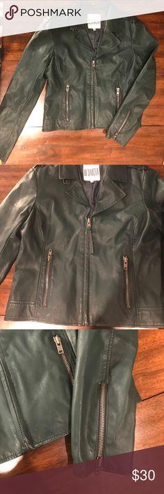 BB Dakota Moto  jacket Hunter green moto jacket. With sleeve zippers. BB Dakota Jackets & Coats