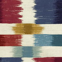 This is a blue, red, and gold ikat squares design cotton drapery fabric, suitable for any decor in the home or office. Perfect for pillows, drapes and bedding.100,000 Double RubsMinimum 15 yard Purchase.v283PPEF