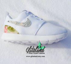 Swarovski Nike White Baby   Toddler Roshe Run Shoes w  Green Flower Print  heel Blinged 43e84de651e7