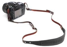 ONA The Lima camera strap. Waxed canvas and leather looks, but padded with neoprene on the inside of the neckstrap. $59