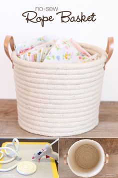 Easy No-Sew Rope Basket Project Tutorial: Use rope, leather strips, and Elmer's new CraftBond Less Mess Hot Glue Sticks & Hot Glue Gun to create a simple, yet stylish basket to help keep your home organized. (diy projects using rope) Glue Gun Crafts, Rope Crafts, Diy Home Crafts, Crafts For Kids, Glue Gun Projects, Sewing Projects, Easy Crafts, Flower Crafts, Sewing Hacks