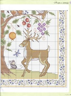Cross-stitch Mother Nature's Bounty, part color chart on part Cross Stitch Gallery, Small Cross Stitch, Cross Stitch For Kids, Cross Stitch Tree, Just Cross Stitch, Cross Stitch Samplers, Cross Stitch Animals, Cross Stitch Charts, Cross Stitching