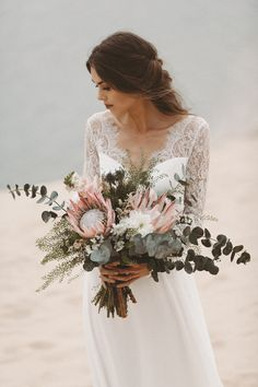Wedding dress with long lace sleeves and low neckline Light & Lace b . Wedding dress with long lace sleeves and low neckline Light & Lace bohemian wedding dress Bridal Bouquet Protea. Bohemian Chic Weddings, Bohemian Wedding Dresses, Bridal Dresses, Bohemian Wedding Reception, Bohemian Bride, Protea Wedding, Wedding Bride, Wedding Gowns, Boho Wedding Bouquet