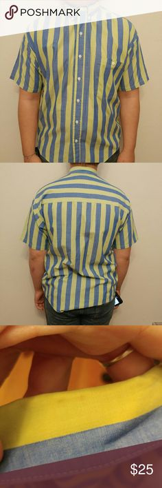 Men's Striped vintage Button-up Size medium. Mens blue and yellow/green button up. 19 inches armpit to armpit. 26 inches shoulder to bottom hem. Has small stain on back of collar as shown in the third picture please note before buying. Made in the USA 🇺🇸 Vintage Shirts Casual Button Down Shirts