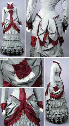 One-piece day dress, no date (1875-1880?). Gray alpaca with trim of burgundy silk atlas and white cotton and lined in silk atlas. Closes up front with hooks eyes. Göteborg Stadsmuseum