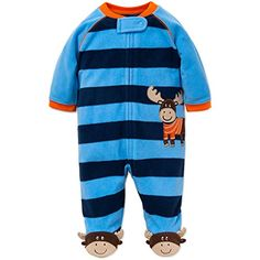 Little Me Moose Blanket Sleeper Warm Fleece Footie Footed Pajamas Blue 3 Months -- Details can be found by clicking on the image. (This is an affiliate link) #BabyBoySleepwearRobes