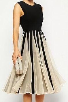 Stylish Jewel Neck Mesh Splicing Sleeveless Color Block Dress For Women