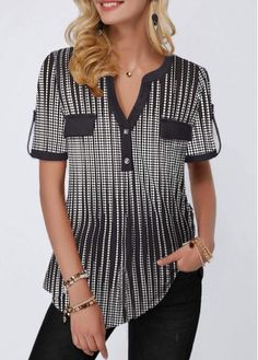 Rosewe Women Blouse Black And White Printed Split Neck Tunic Printed Button Detail Split Neck Half Sleeve Blouse Stylish Tops For Girls, Trendy Tops For Women, Blouses For Women, Women's Blouses, Formal Blouses, Ladies Blouses, Printed Blouse, Half Sleeves, Tops Online