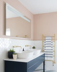 Pink bathroom with graphic tiles and a navy his-and-hers sink Rustic Bathroom Designs, Rustic Bathroom Vanities, Bathroom Interior, Small Bathroom, Master Bathroom, Ensuite Bathrooms, Bathroom Ideas, Pink Bathrooms, Pink Bathroom Decor