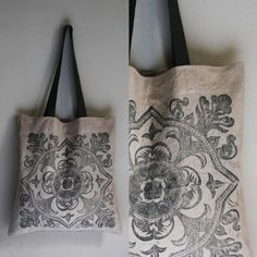 Handprinted and handsewn large canvas tote bag Cotton Canvas, Canvas Fabric, Large Canvas Tote Bags, Linocut Prints, Printed Tote Bags, Hand Sewing, Printing On Fabric, Hand Carved, I Shop