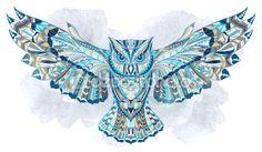(Linda essa coruja!) Coruja estampada no fundo aquarela grunge — Ilustração de Stock #72252827