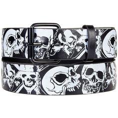 Blue Banana Sugar Skull Bandana Belt (Black/White) (10 CAD) ❤ liked on Polyvore featuring accessories, belts, black and white belt en blue belt