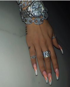 Bling Acrylic Nails, Simple Acrylic Nails, Aycrlic Nails, Best Acrylic Nails, Bling Nails, Swag Nails, Hand Jewelry, Cute Jewelry, Jewellery