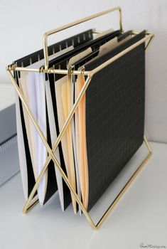 home office ideas - brass hanging file folders