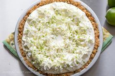 Margarita pie with a pretzel crust - Saving Room for Dessert Pretzel Desserts, Party Desserts, Margarita Pie, Pretzel Crust, Frozen Margaritas, Green Food Coloring, Pie Dessert, Fresh Lime Juice, Sweet And Salty