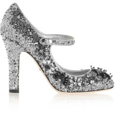 Dolce & Gabbana Sequined velvet Mary Jane pumps (4,485 GTQ) ❤ liked on Polyvore featuring shoes, pumps, heels, silver, heeled mary janes, high heel court shoes, sequin pumps, sequin shoes and mary jane pumps