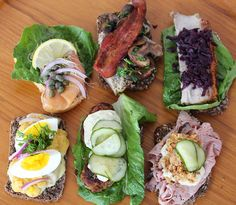 Smrrebrd (open face Danish sandwiches) from the Danish Christmas party christmas fingerfood Danish Cuisine, Danish Food, Denmark Food, Liver And Onions, Danish Christmas, Open Faced Sandwich, Scandinavian Food, Roasted Mushrooms, Whats For Lunch