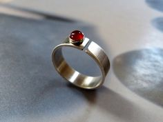 Carnelian ring red stone silver ring handcrafted ring by Mirma