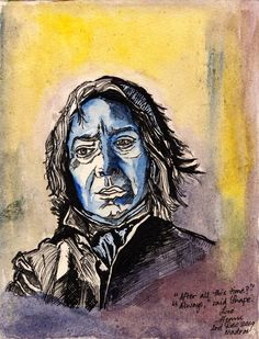 """After all this time   Watercolours and Pen and ink on Canson paper  Dumbledore watched her fly away, and as her silvery glow faded he turned back to Snape, and his eyes were full of tears.  """"After all this time?"""" """"Always,"""" said Snape."""""""