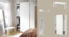 PAX white wardrobe with MEHAMN white sliding doors - mirror with clothes bar