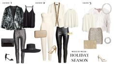 Party outfits what to wear holiday season white sequin black jump suit fluffy jacket skirt pants christmas