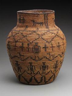 Jar basket ~ Native American (Western  Apache), 1880-90  San Carlos or White Mountain Reserve, Southeastern Arizona  13-1/4 x 11 in.  Plant fiber/grass; willow or cottonwood;  devil's claw (black martyuia)