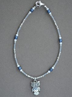 Jewelry - Anklets - Blue Owl Anklet  by JewelryArtByGail on Etsy