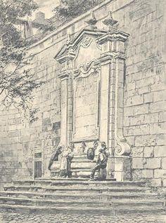 Palácio Pombal - Chafariz fronteiro - Ilustração da obra <i>Lisboa Velha</i>, de Roque Gameiro