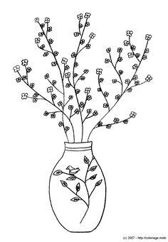 Vase japonais et fleurs de cerisier