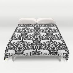 Elephant Damask Black and White Duvet Cover by Jacqueline Maldonado