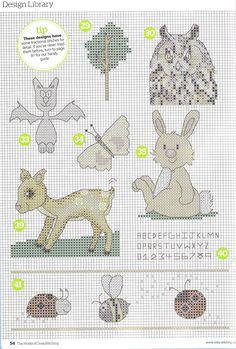 card covers, bookmarks, etc cross stitch owl, bat, butterfly, rabbit, deer, bee, ladybug