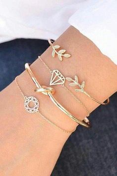 Cute Dainty Boho Bracelet Set Stacked Leaf Knot Bangle Chain Bracelets in Gold S. Cute Dainty Boho Bracelet Set Stacked Leaf Knot Bangle Chain Bracelets in Gold Summer Fashion Jewelry for Teens for Cute Bracelets, Bangle Bracelets, Bangles, Silver Bracelets, Hippie Bracelets, Fashion Necklace, Fashion Jewelry, Women Jewelry, Fashion Bracelets
