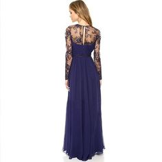 Fashion Embroidery V-neck Slim Hem Floor-length Chiffon Dress