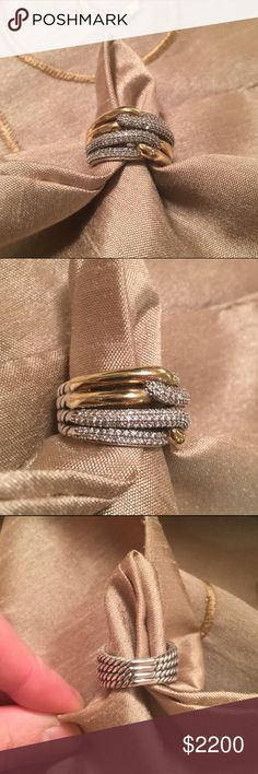 David Yurman Labyrinth Double Loop Ring!!! Perfect for Valentine's Day! Treat yourself or a loved one to this stunning 18k gold, sterling silver, and diamond ring from the Labyrinth collection by David Yurman. Size 6, retails for 2700. Pavé diamonds, .62 total carat weight. Pre-owned, beautiful condition. Serious inquiries only please, no trades. Refer to the second listing for more photos! Purchased from Saks in Boston. Will come with original pouch. Absolutely to die for! David Yurman…