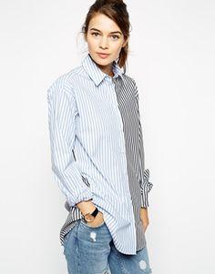 ASOS Multi Stripe Boyfriend Shirt