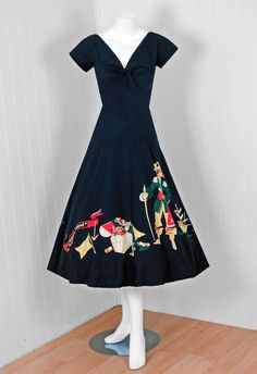 1940's Treasure Island Novelty Print Sun Dress