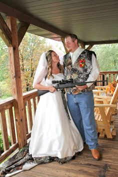 Country Camo Wedding dress/theme.  The groom gave the bride a gun as a gift and LOVED it!  www.creativeimagez.com