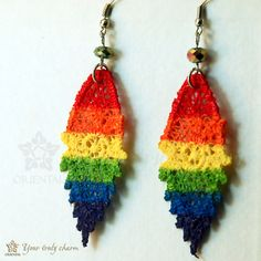 Lace earrings P flag colors with iris beads by OrientalColour, $6.20