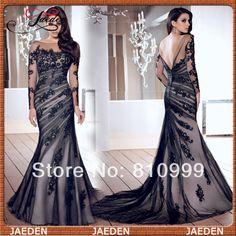 JE0355 Special Occasional Elegant Full Lace Mermaid Black Soft Tulle Floor Length Formal Long Sleeve Evening Dress $107.99