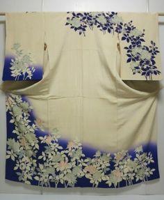 Japanese Kimono Silk Vintage Tsukesage Off White Flower Dyeing