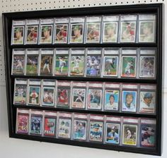 Lockable 36 Graded Sports Card Display Case, for Football, Baseball, Basketball, Hockey Cards (Black Finish) Sports Memorabilia Display, Baseball Card Displays, Hockey Cards, Football Cards, Baseball Cards, Playing Card Crafts, Card Storage, Storage Ideas, Display Boxes