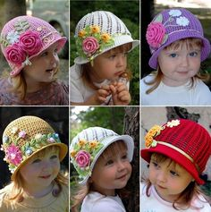 DIY : Pretty Crochet Girls Swirl Sun Hat - very nice picture tutorial for the hats.