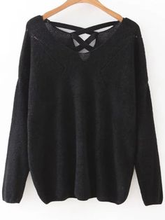 Black V Neck Criss Cross Back Knitwear