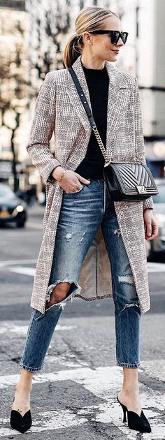 #winter #outfits beige plaid coat, black sweater, ripped jeans, black heels