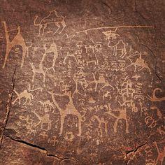 The petroglyphs etched into the cave walls in Wadi Rum. #Jordan #JO #(via. @visitjordan)