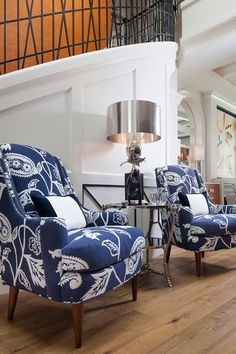 What great chairs ~ they look both comfy and stylish (♥ blue and white) ~ by Joy Tribout Interior Design