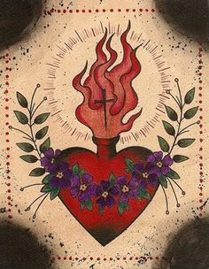 sacred heart traditional tattoo - Google Search