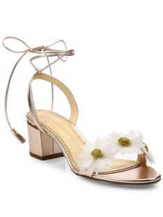 Charlotte Olympia Tara Flower Metallic Leather Block-Heel Sandals